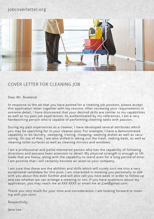 Cover Letter For Cleaning Job Writing A Cover Letter Job Cover Letter How To Write A Cover Letter