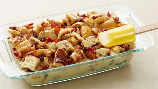 Easy brunch? Make a simple strata with cinnamon rolls and a bit of sweet-and-salty uber goodness.