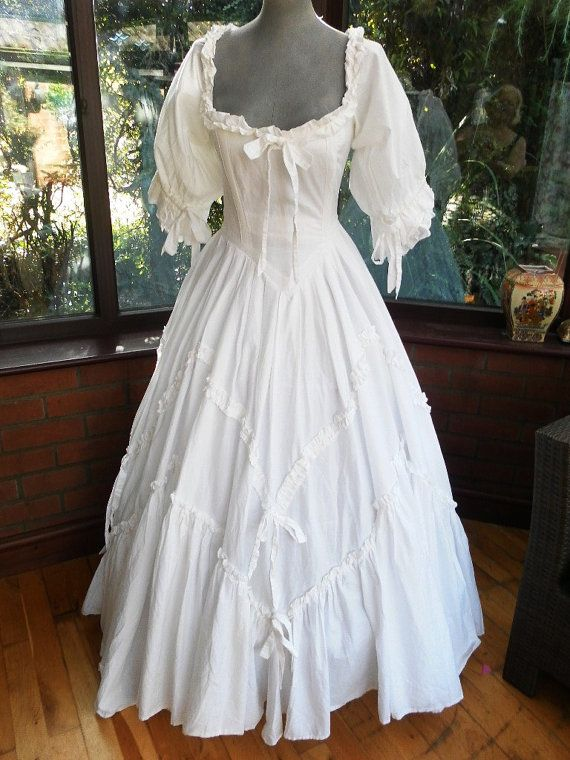 Vintage laura ashley designer pure white frilled romantic for Romantic wedding dress designers