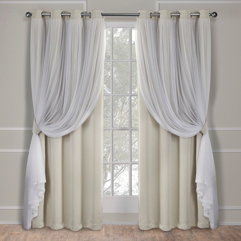 Ati Home Catarina Layered Blackout And Sheer Curtain Panel Pair W
