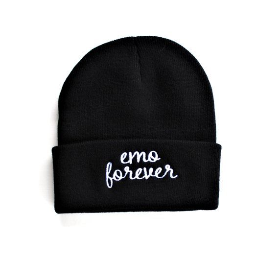 0d50a3831 Emo Forever Black Knit Embroidered Beanie and Lapel Pin Set - 1 ...