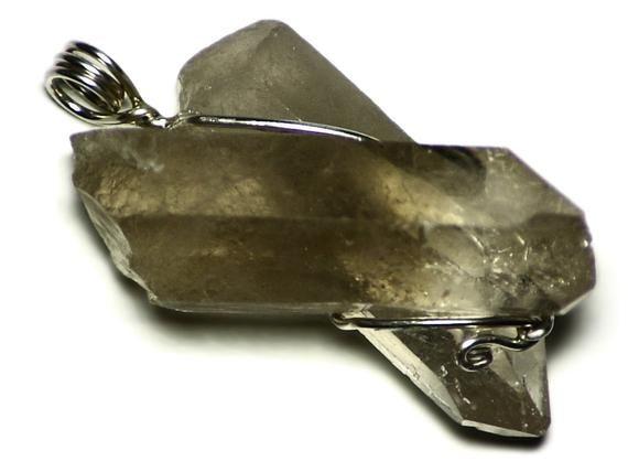 Double Quartz Necklace, Raw Crystals Pendant (135ct) Chunky Quartz Jewelry, Large Quartz Statement N #quartznecklace