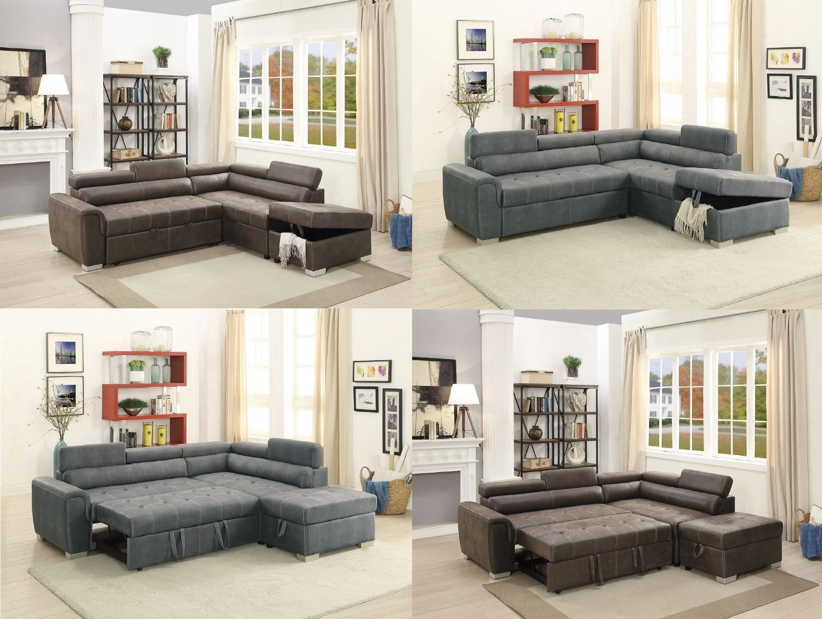 Leatherette Tuftd Sectional Sofa Flip Up Headrest Pull Out Bed Couch In 2  Colors