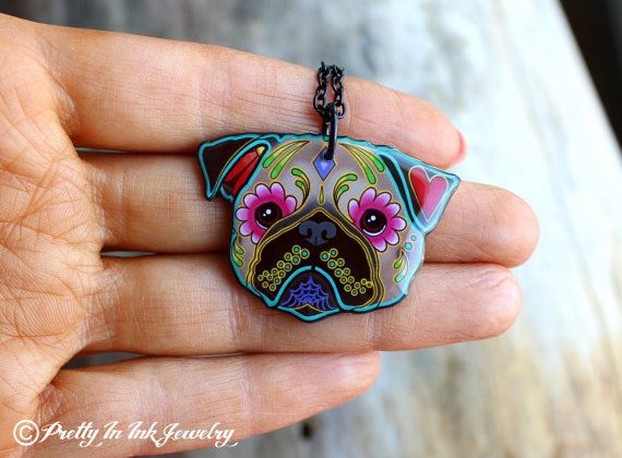 Day of the Dead Fawn Pug Sugar Skull Dog by PrettyInInkJewelry