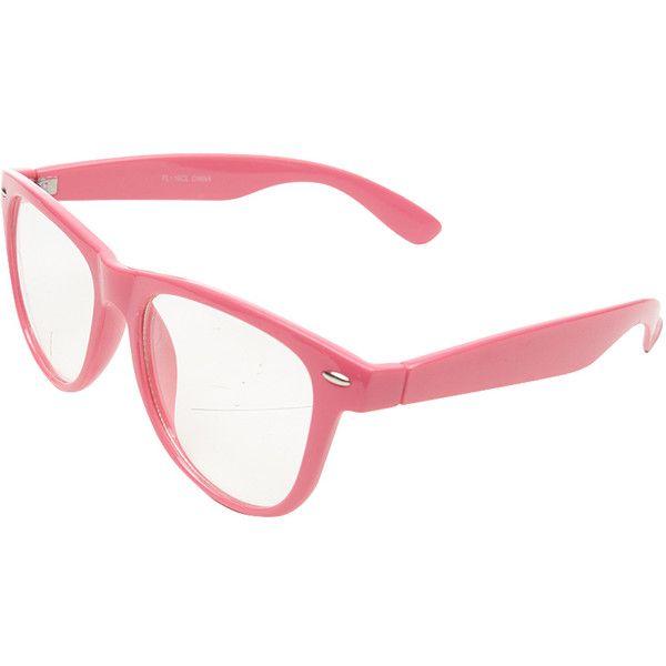 8b4d3d519c4b Wayfarer Clear Lens Glasses ($3) ❤ liked on Polyvore featuring accessories,  eyewear, eyeglasses, glasses, jewelry, neon pink, lightweight eyeglasses,  ...
