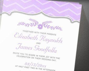 Lavender Zigzag Wedding Invitation