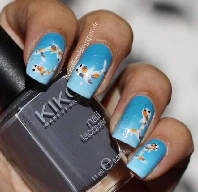 Koi Fish Nail Art Tutorial | Nail Art | Pinterest | Fish nail art ...