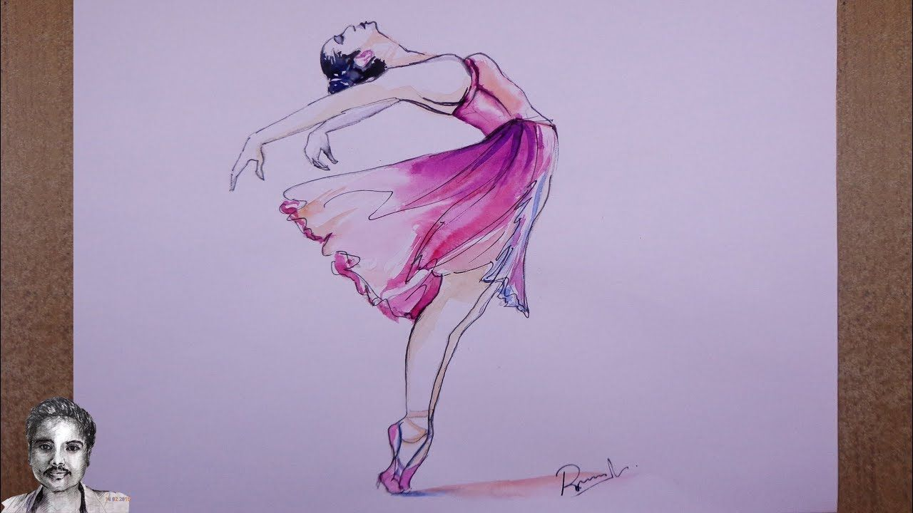 Watercolor Painting Easy Step By Step A Dancing Girl Painting Of Girl Girl Drawing Easy Watercolor Paintings Easy