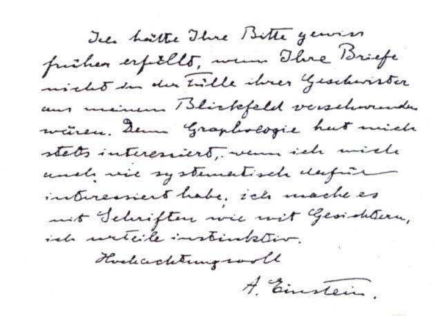 Handwriting Sample Albert Einstein