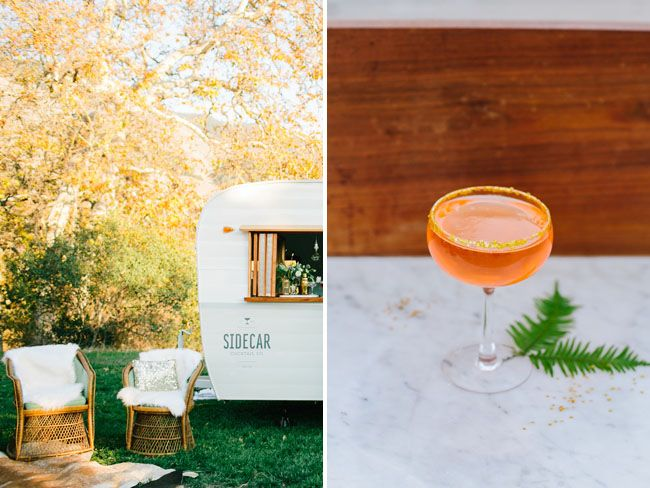 Modern mid century design for our NYE inspired photo shoot. Tinker Tin Trailer Co. 1961 Shasta vintage trailer bar