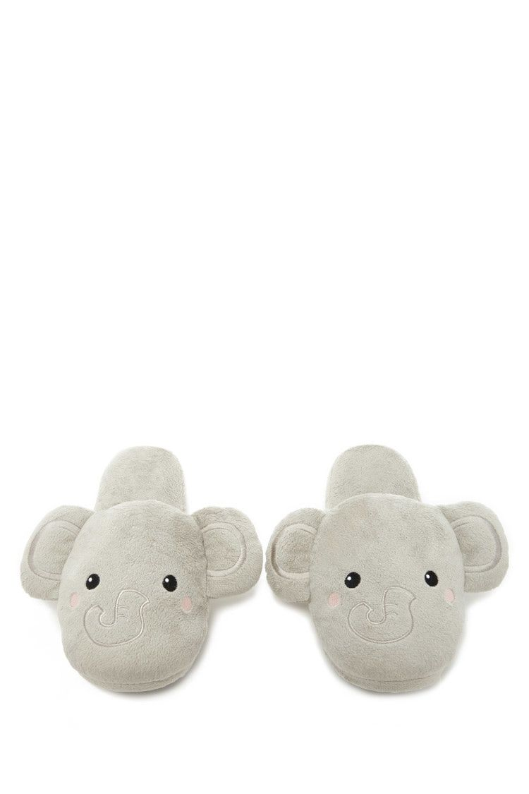 Style Deals - A pair of slippers featuring an embroidered elephant face and ear appliques.