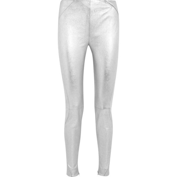 Mugler Metallic stretch-leather leggings (45.667.705 VND) ❤ liked on  Polyvore