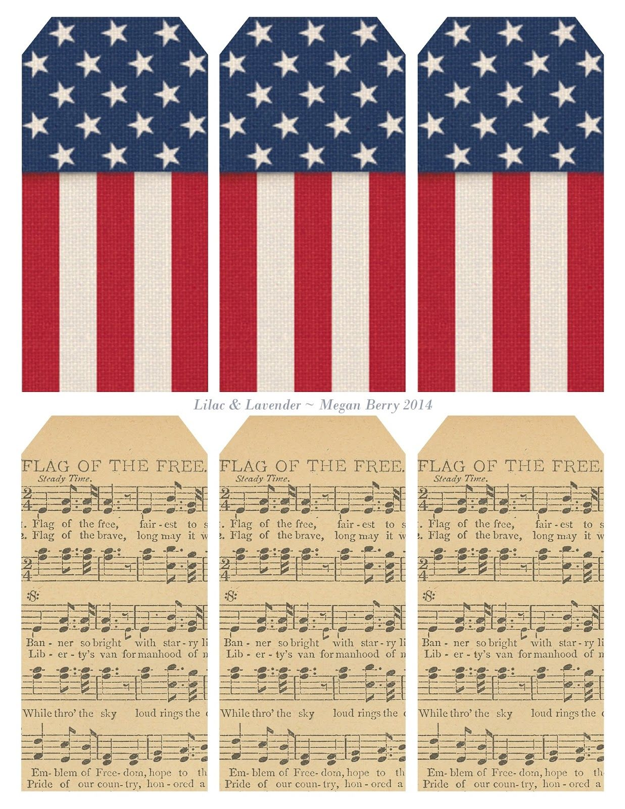 photograph about Printable Usa Flag known as Printable fixed of 6 patriotic tags: United states of america flag-concept and \
