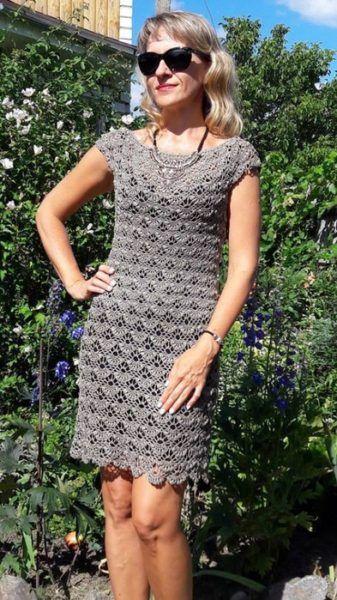 Crochet Gray Dress Ganchillo Pinterest Free Crochet Crochet
