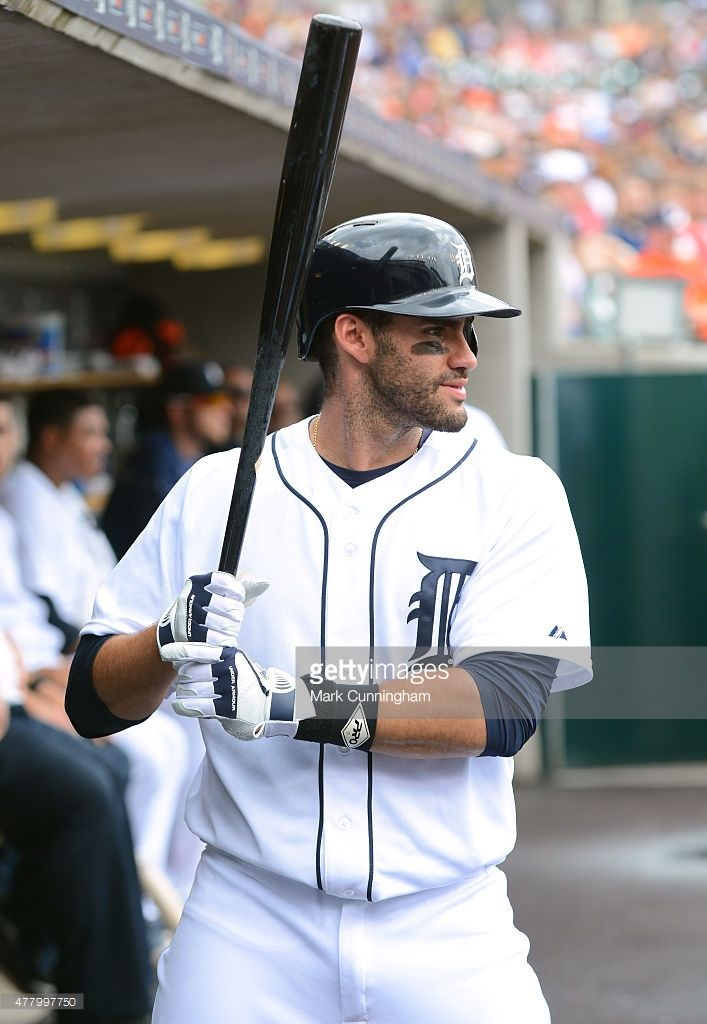 J.D. Martinez #28 of the Detroit Tigers looks on from the dugout while waiting to bat during the game against the Cleveland Indians at Comerica Park on June 14, 2015 in Detroit, Michigan. The Tigers defeated the Indians 8-1.