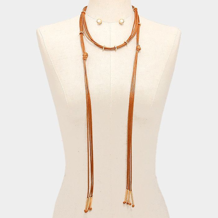Multi-Strand Coated Cord Necklace & Earrings