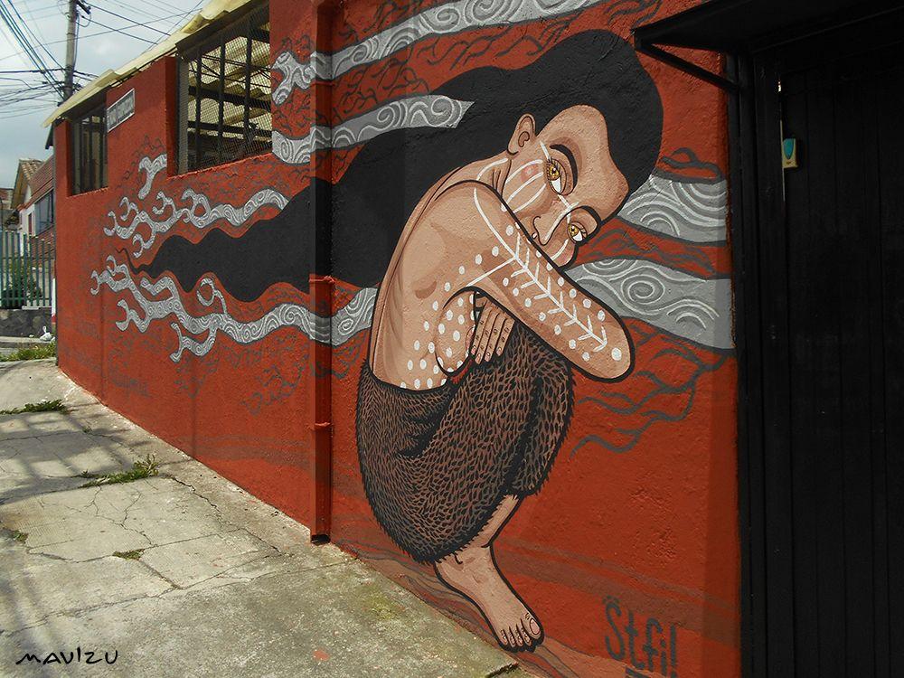 Estefanía Leigthon, Stfi!  Muro realizado junto a mi querida amiga Loreta. Pintado en Quito, Ecuador en enero 2016. Mujer Selk'nam conpinturas ceremoniales del Hain, Ritual de las indígenas de Tierra del Fuego, al Sur…