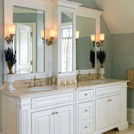 Master Bathroom Vanity In Wood Not Painted Like The Heigth Of Middle Medicine Cabinet Up Off