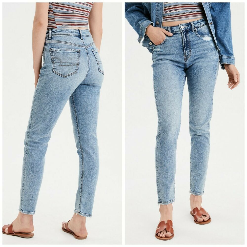American Eagle Women S Mom Jeans High Rise Stretch Cool Ocean Size 00 0 4 Americaneagleoutfitters American Eagle Outfits High Jeans Clothes