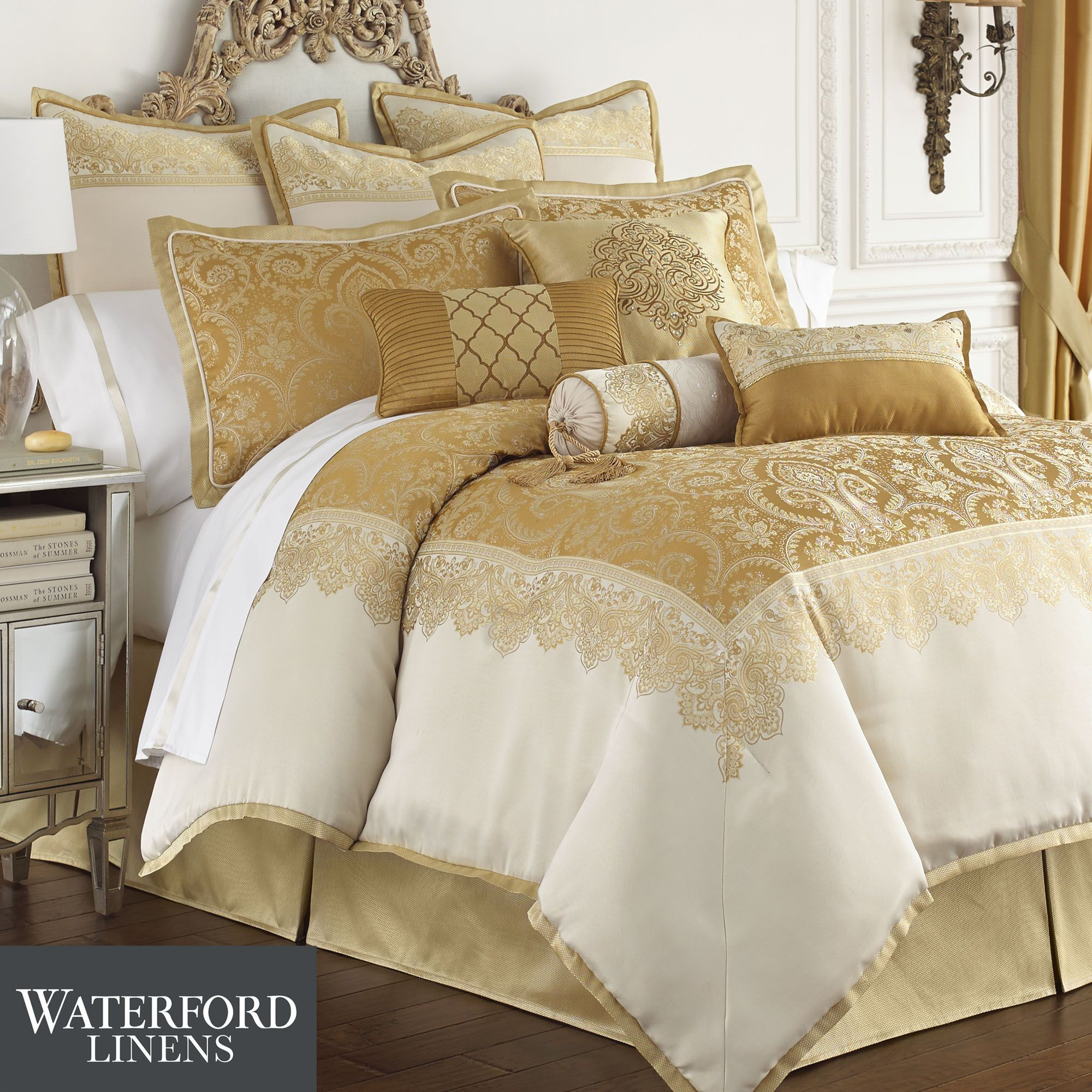 set decoration aramis damask comforter acanthus sets waterford bannon gold queen linens by bedding