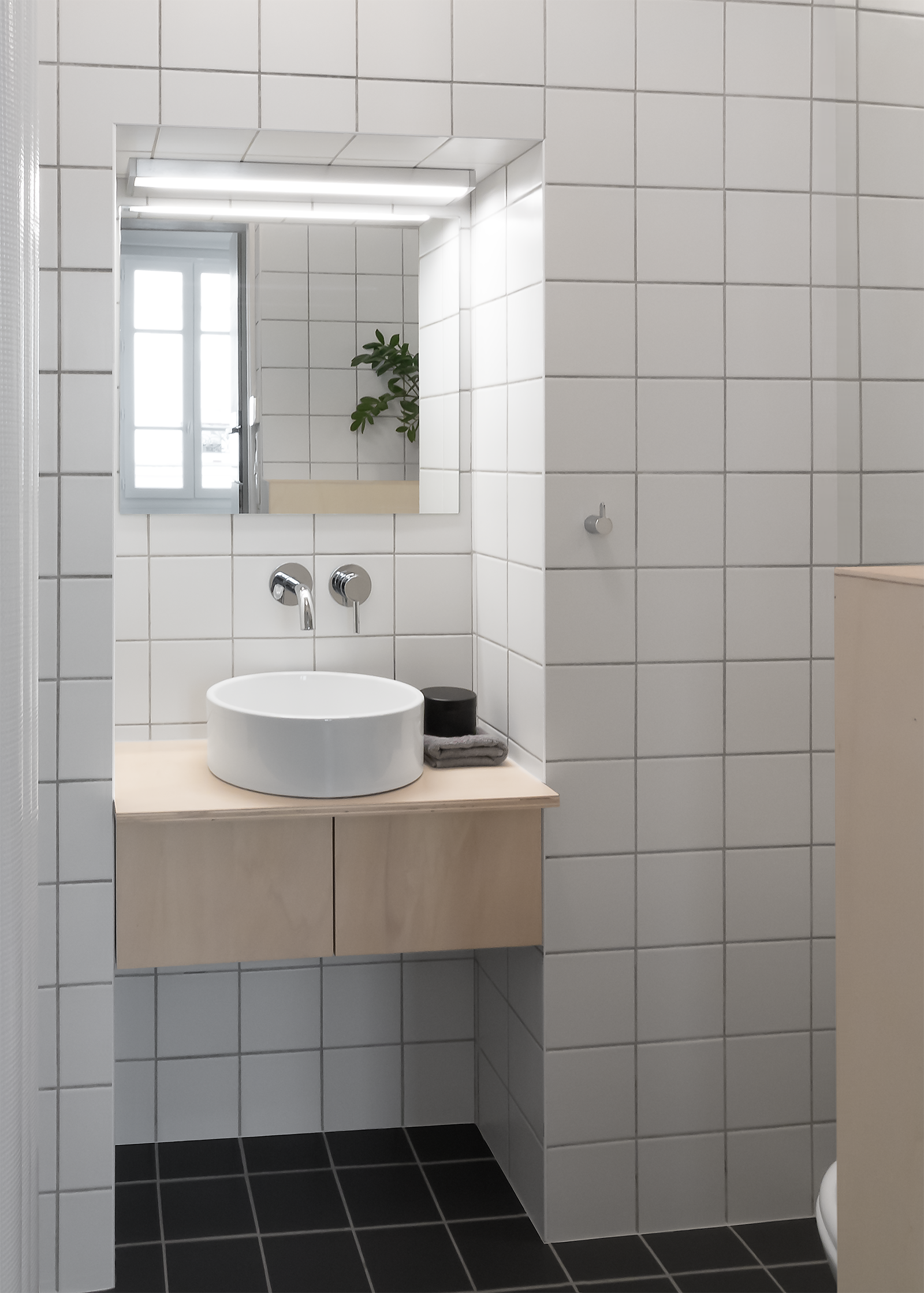 Japanese style minimal bathroom with square white wall and ...