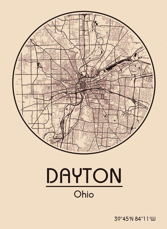 Karte Map Dayton Ohio Vereinigte Staaten von Amerika United