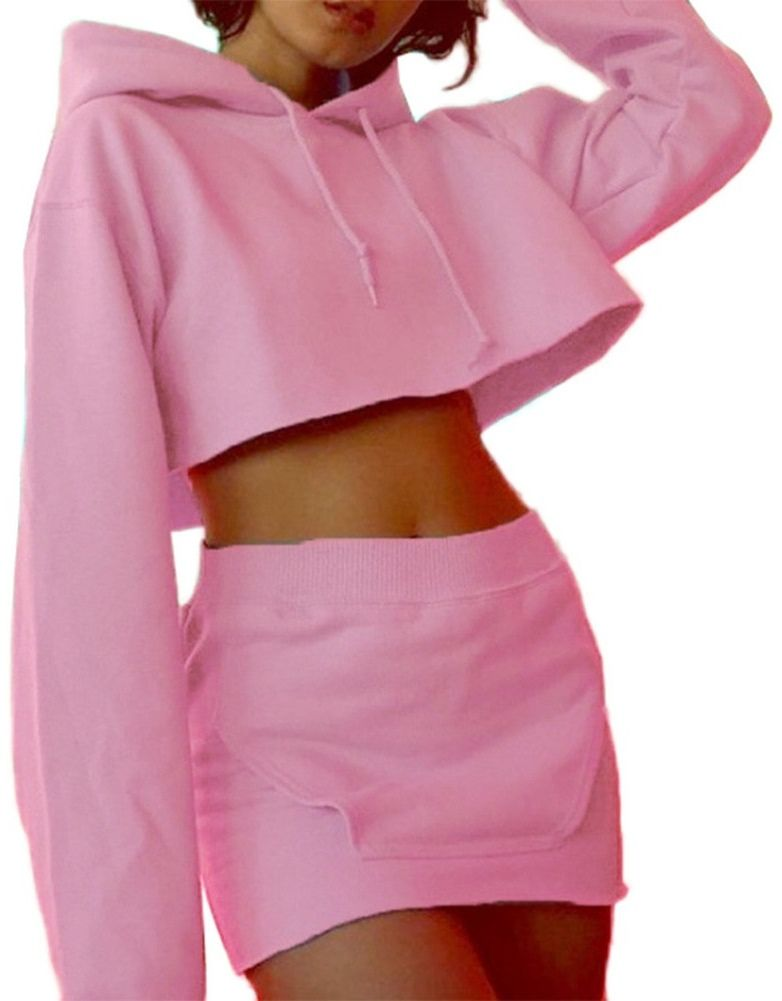 be4f6453444 Women s Pink Two Piece Cropped Hoodie Skirt Set in 2019
