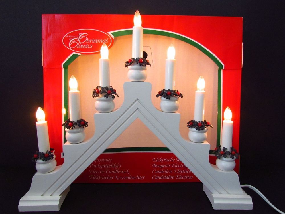 Christmas 7 Light Candle Candelabra Wood Frame Electric White Scandinavian Swedishdesign Candle Candelabra Swedish Christmas Swedish Design
