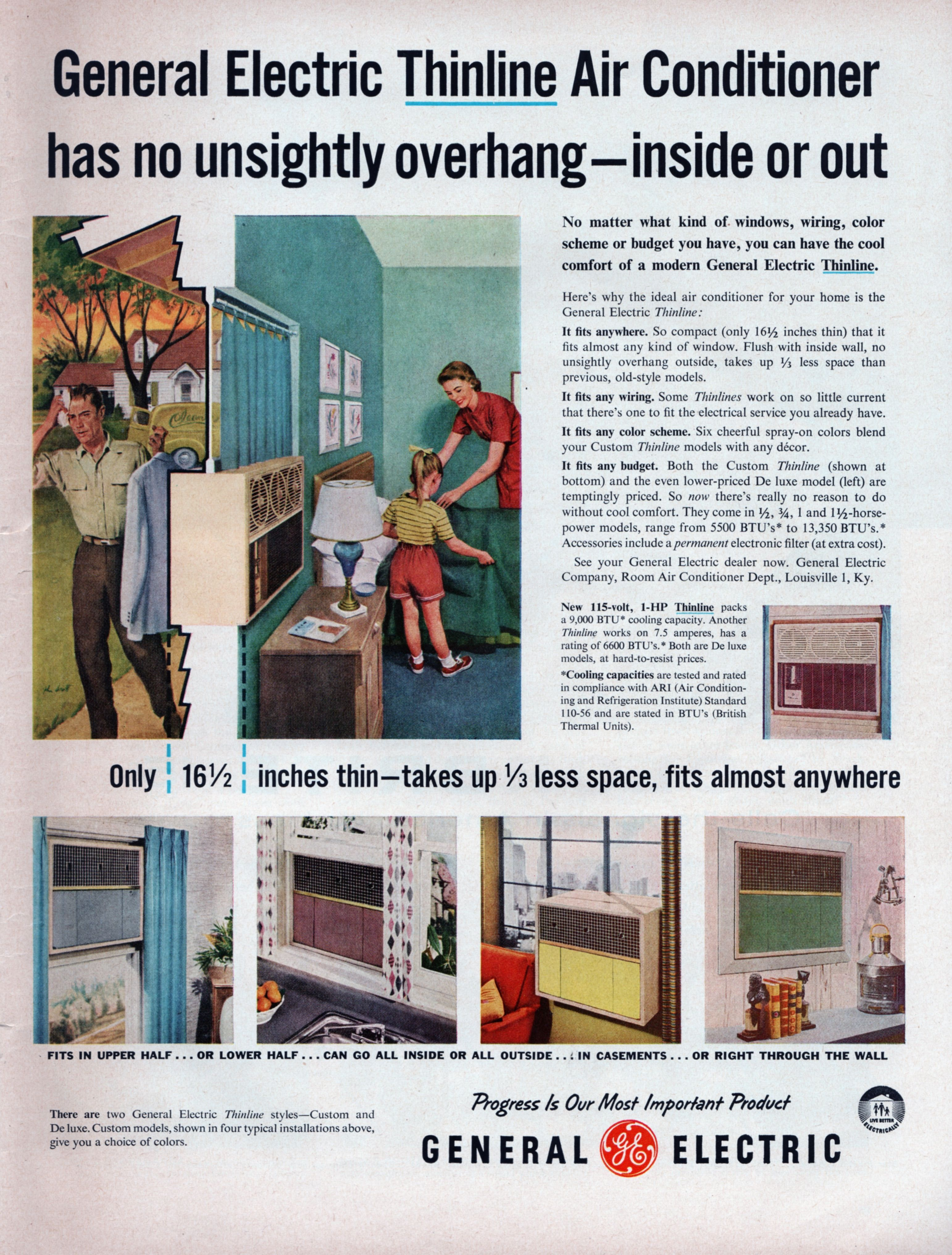 Ad for GE Thinline Air Conditioners from the May 13, 1957
