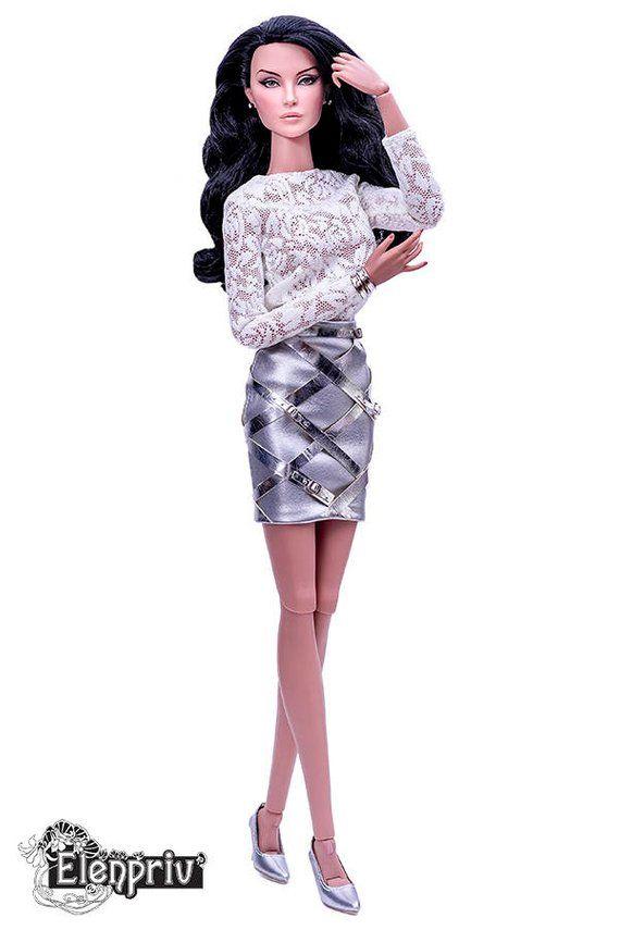 39e3da20bc ELENPRIV silver leather mini skirt for Fashion Royalty FR:16, ITBE and  similar body size dolls
