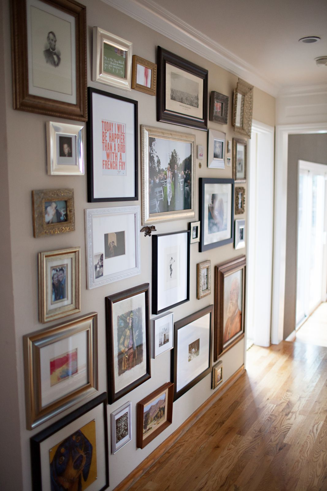 Gallery Wall Salon Style Hanging Hallway Everyone Should Have A Wall Of Things That Make Them Happy Photo Wall Gallery Wall Gallery Wall