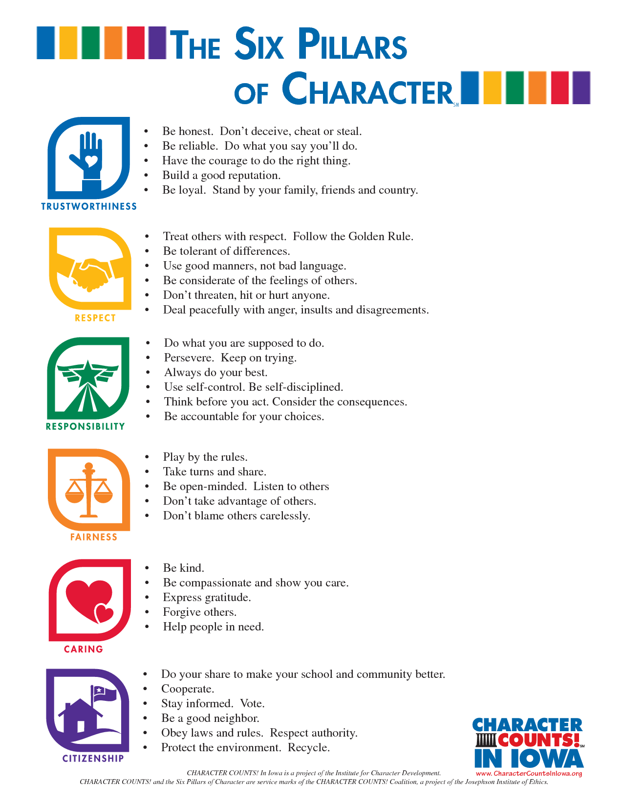 best images about six pillars of character 17 best images about six pillars of character character education count and citizenship