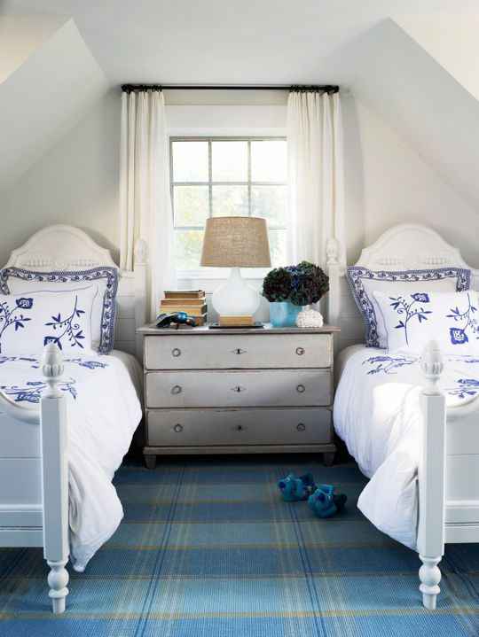 Bright White Bedroom: Items That Can Fit Under A Low, Angled Ceiling: A Bed
