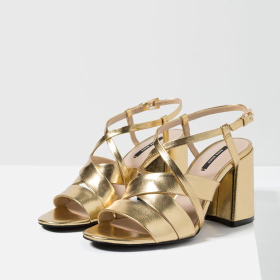 e5593ff7406 CROSSOVER gold METALLIC SANDALS from Zara