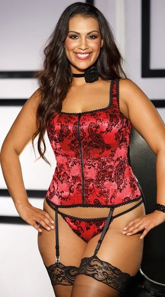 Plus size flocked tank-style corset with adjustable straps, lace-up back, black satin back bow, adjustable garters and thong. (Stockings not included.) Plus Size Flocked Corset, Plus Size Patterned Corset #plussizelingerie #plussizevalentinesdaylingerie #plussizeclearancelingeriesale