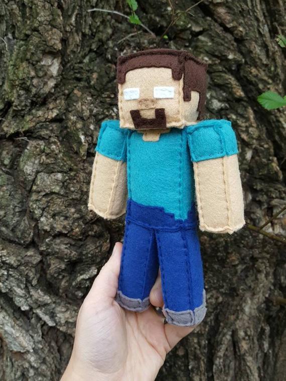 Minecraft Herobrine Stuffed Plush, Minecraft Party, minecraft plush