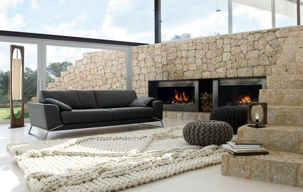 Wohnzimmer Einrichten Beispiele Ausgefallener Teppich Tolle Stehlampe
