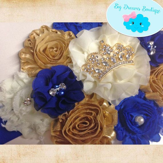 Maternity sash Belt Royal blue gold Crown white king baby shower daddy to be tie