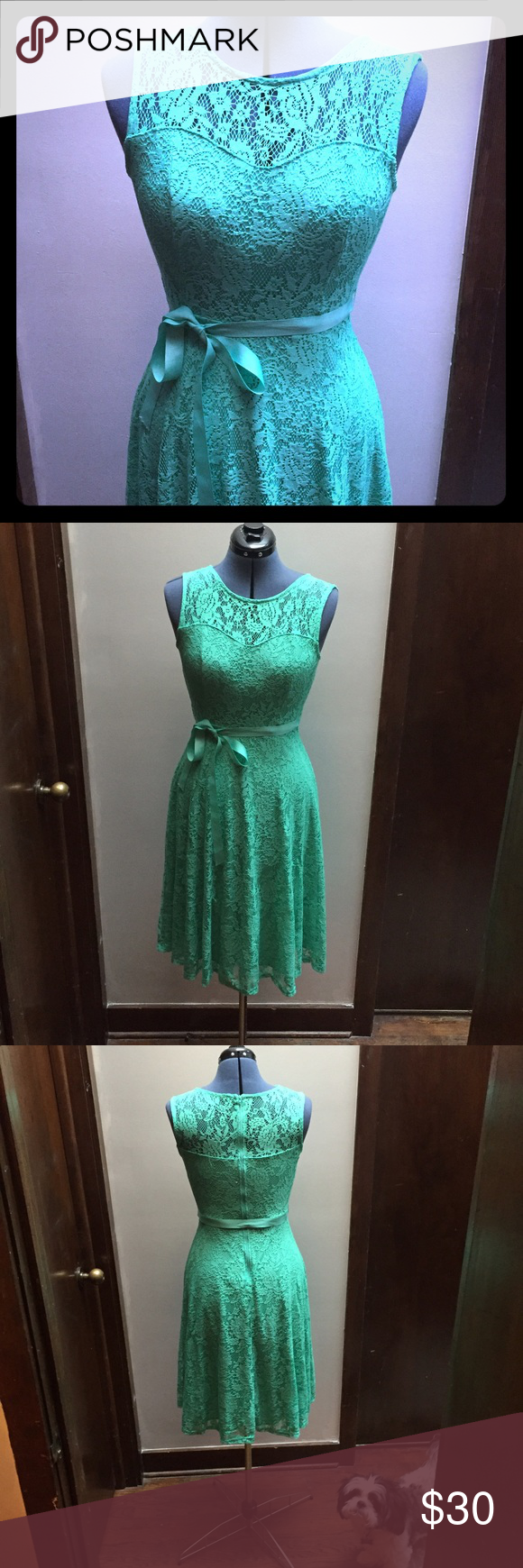 Lace below knee dress  Lace overlay mint party dress  Mint party Ribbon belt and Lace overlay