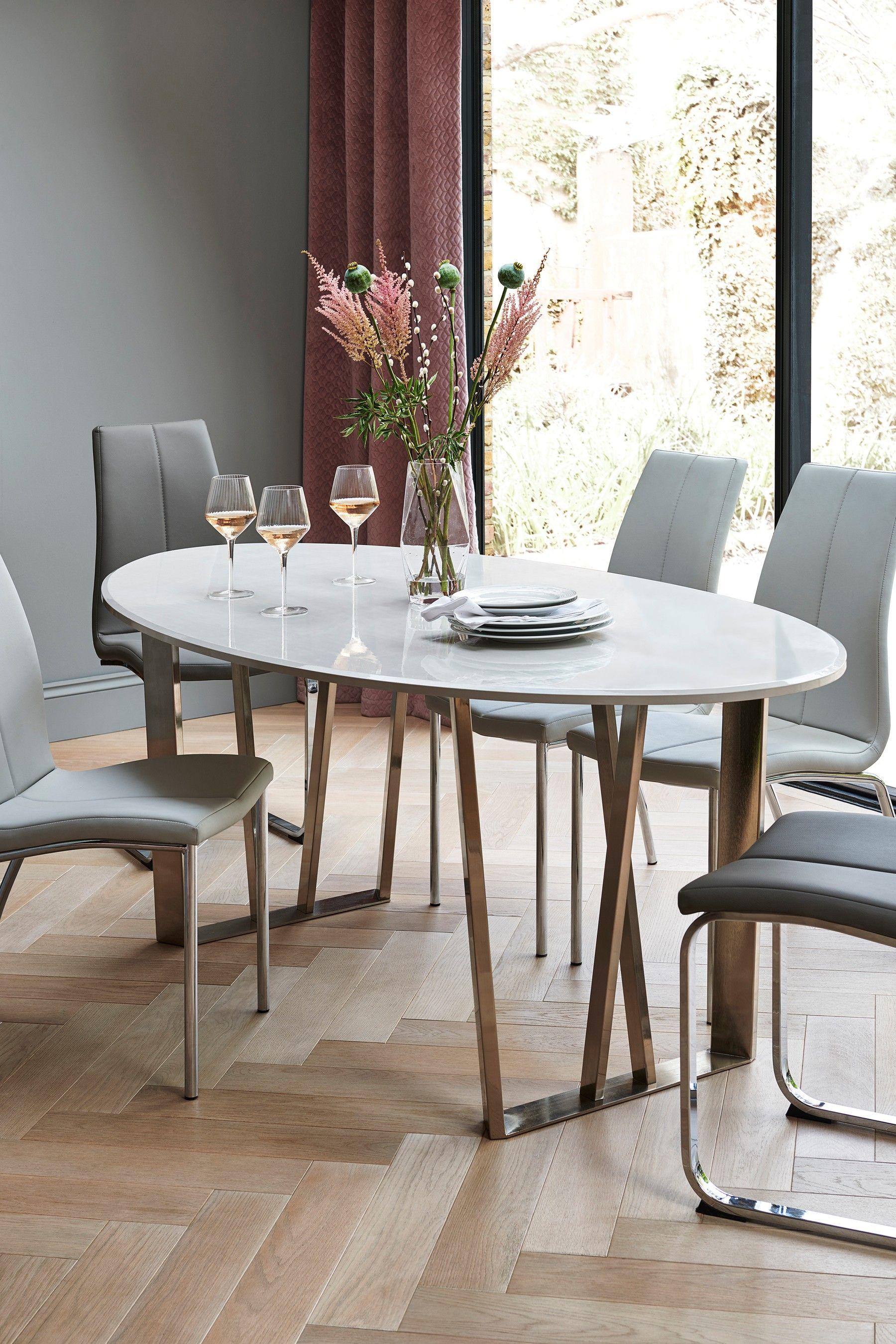 Mode Gloss Oval Dining Table Dining Table In Kitchen Oval