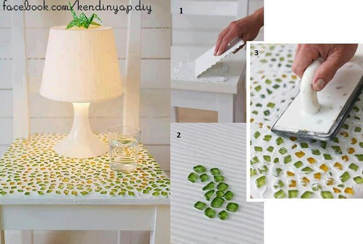 Mesa con vidrio y cemento blanco