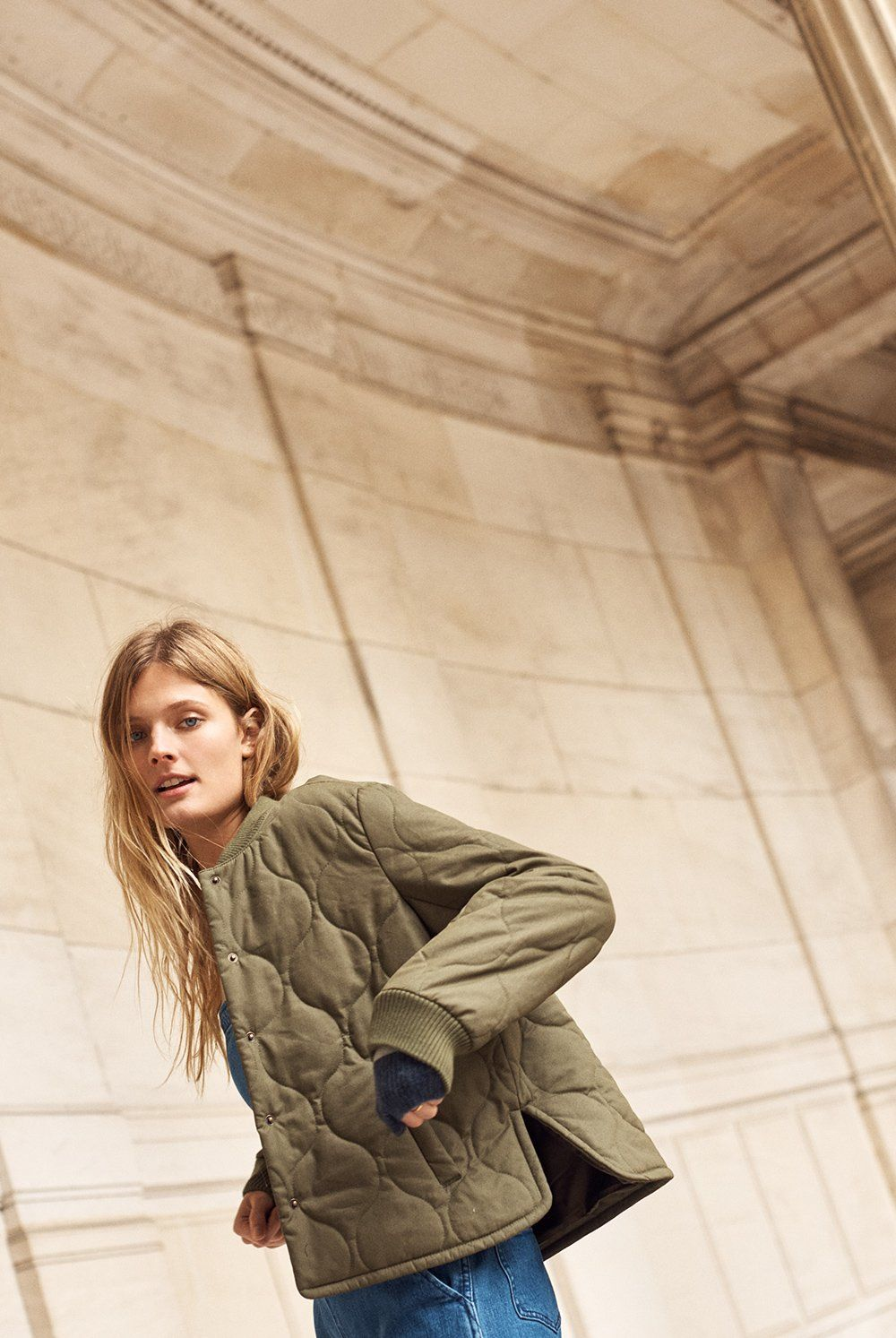 Quilted Military Jacket Style Casual Chic Fashion [ 1493 x 1000 Pixel ]