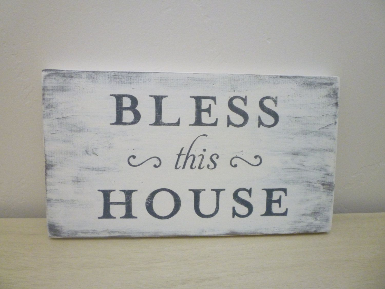 Bless This House Distressed Wood Sign Rustic Farmhouse Décor Shabby Chic French Country Newstagedesigns Smallbusinesser