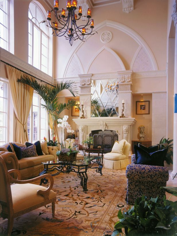 Living Room Arch Decorations: Living Room Featuring Gothic Arch Detail As Well As Simply