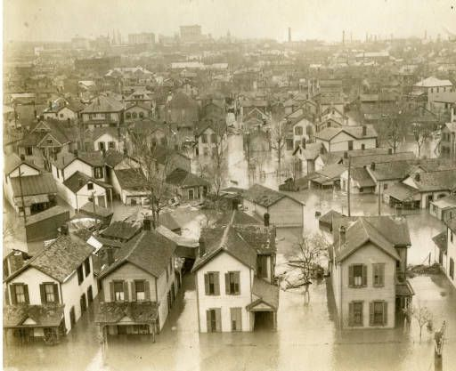 View Of Flooding From Miami Valley Hospital 1913 Dayton Flood