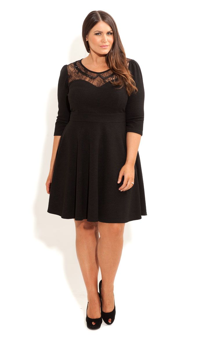 City Chic - LACE BEAD COLLAR SKATER DRESS - Women\'s plus size ...
