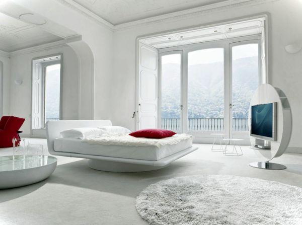 feng shui schlafzimmer einrichten modern weiß rot Schlafzimmer - schlafzimmer ideen modern