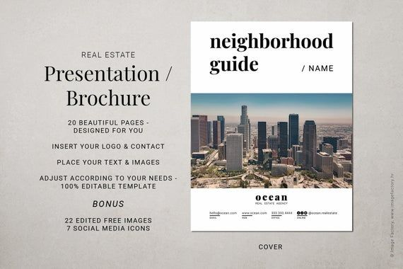 Being a local top realtor, influencer, and the go-to person is necessary to engage with the new home buyers. Download this elegant 20-pages real estate neighborhood guide template carefully designed for modern business-oriented realtors, agents, and brokers in mind. Don't worry about your design skills. Carefully combined fonts and layout composition make this 100% editable template an absolute timesaver that will make you look so professional in less than an hour. You can easily completely cust