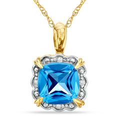 Zales 8.0mm Cushion-Cut White Topaz and Diamond Accent Frame Pendant in 10K Gold ktdg7gJxn