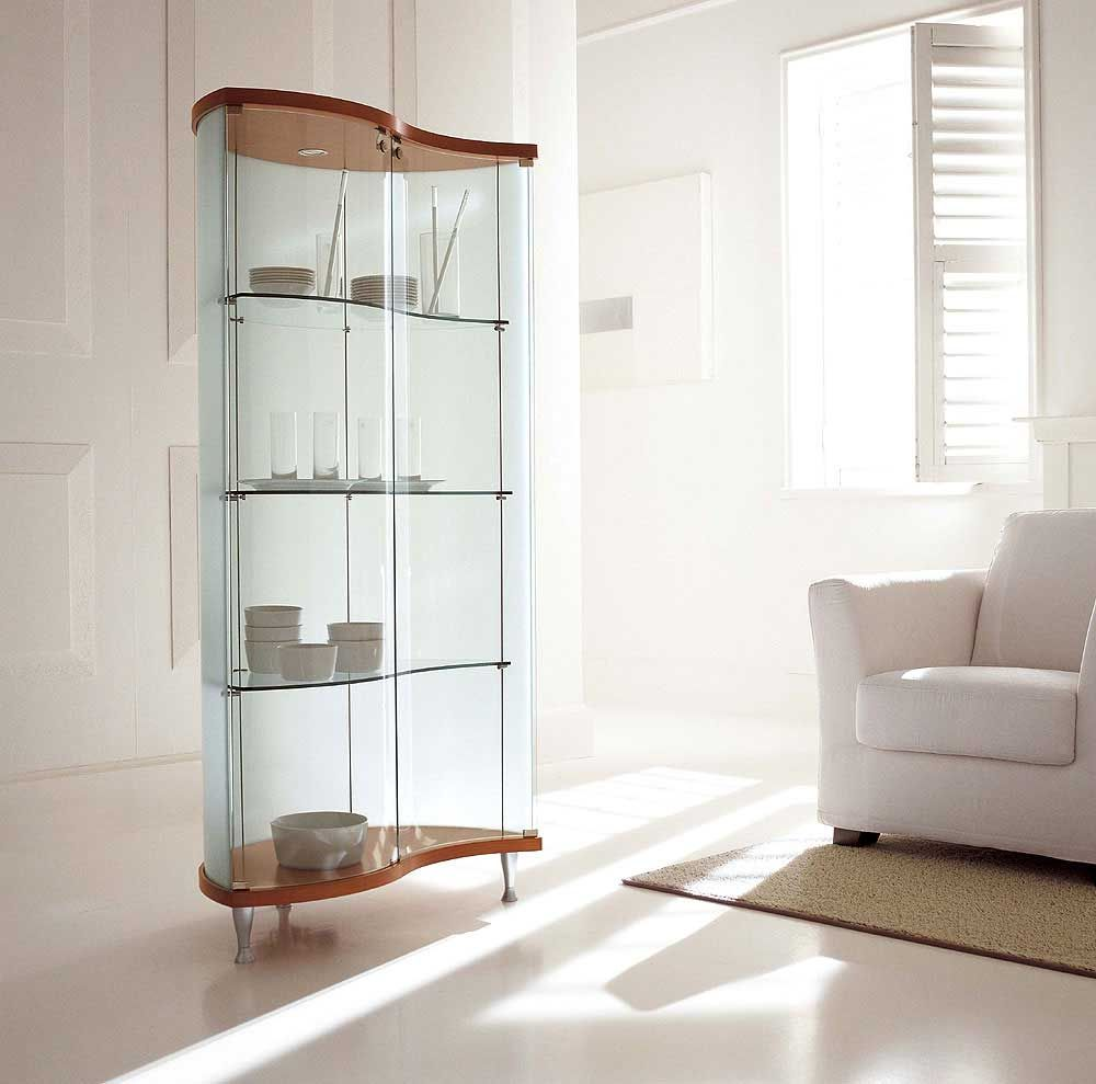 Sempra contemporary curio cabinets design mueble - Glass corner shelf for living room ...